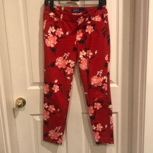 Old Navy red floral pixie pants